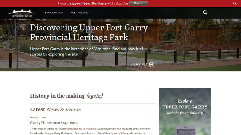 Upper Fort Garry's website