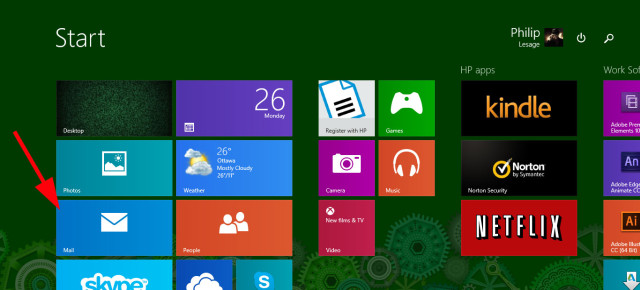 Mail app in Windows 8 metro start menu