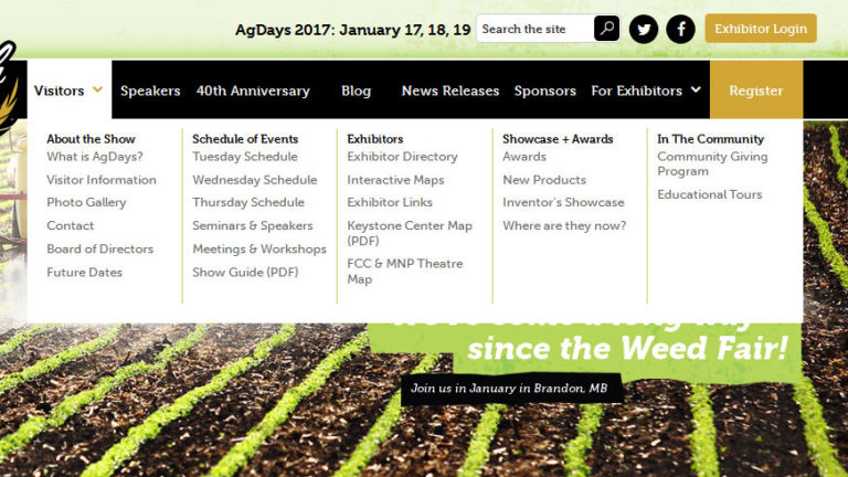 Navigation structure for Ag Days website