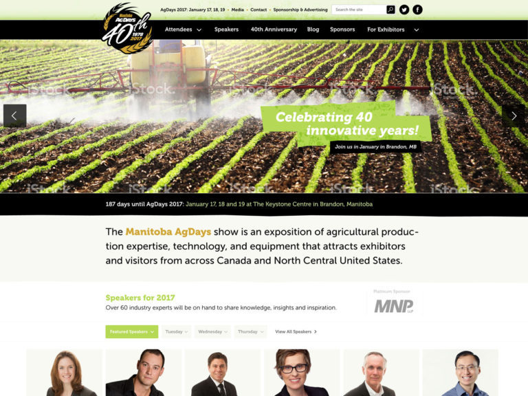 Website design for Ag Days 40th anniversary