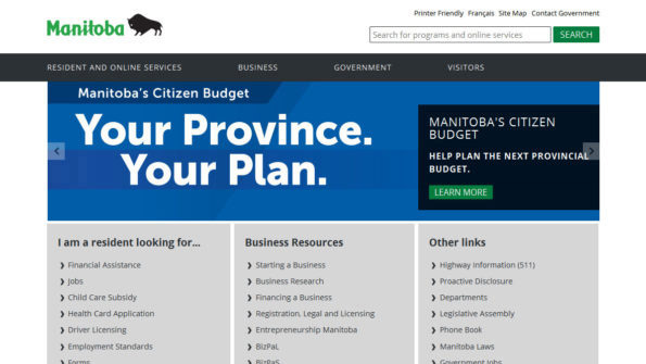 Province of Manitoba government website, desktop view