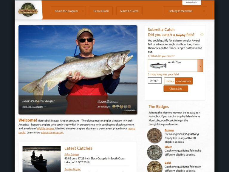 Master Angler website, desktop view