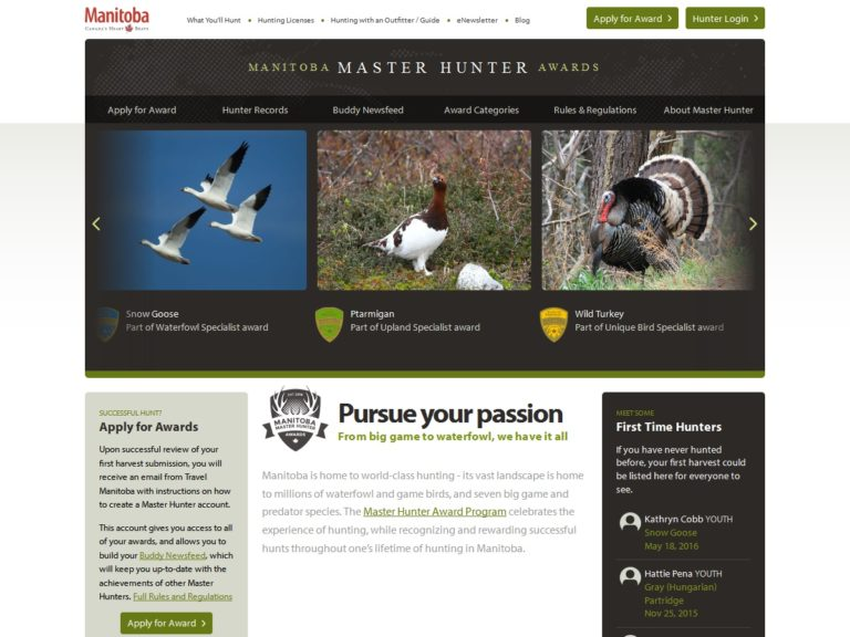 Master Hunter website, desktop view
