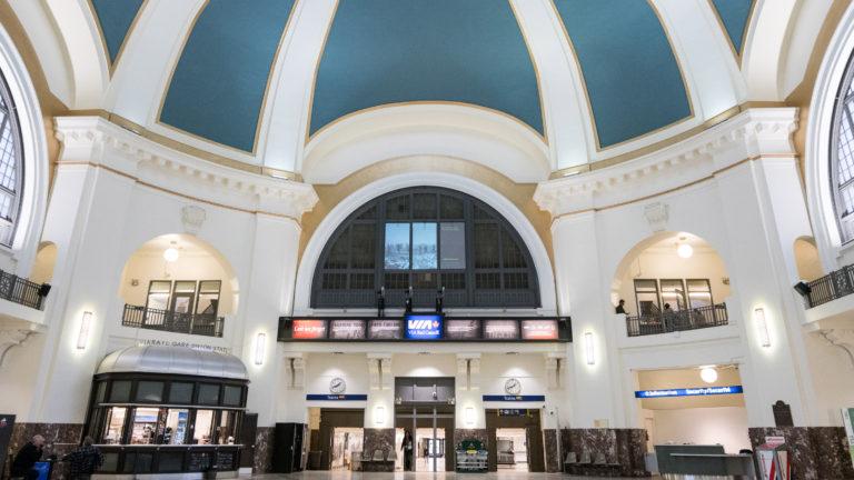 Winnipeg's Via Rails memorial installation inside rotunda entrance