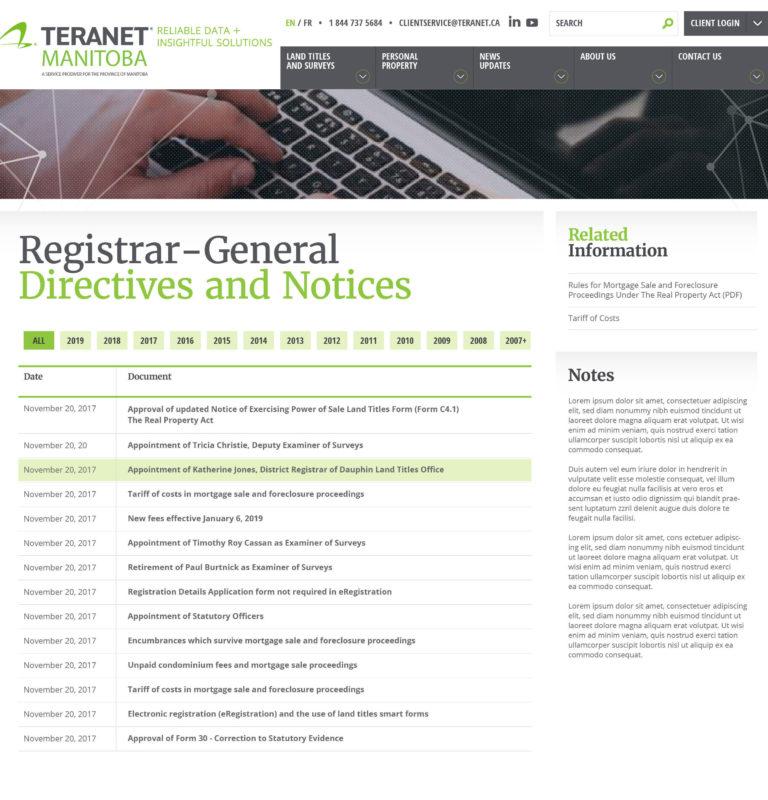Teranet Registrar Directives