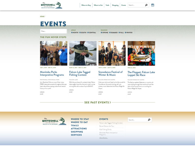 Explore the Whiteshell website events