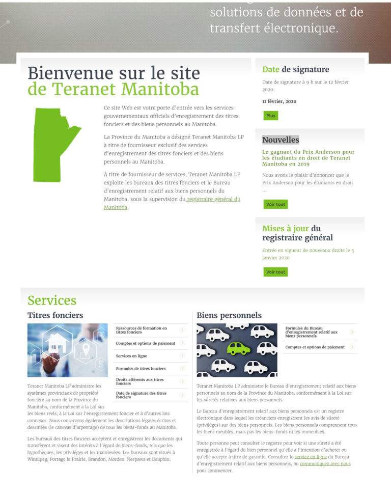 Teranet Manitoba homepage french