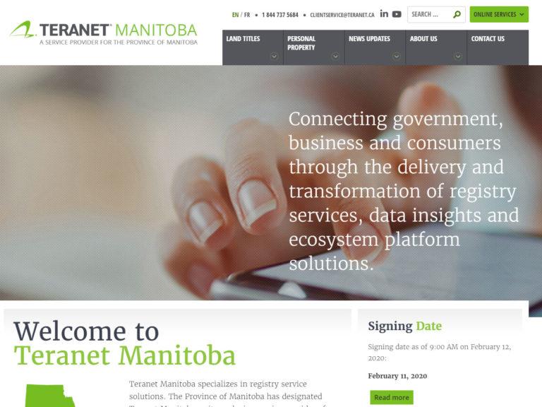 Teranet Manitoba homepage